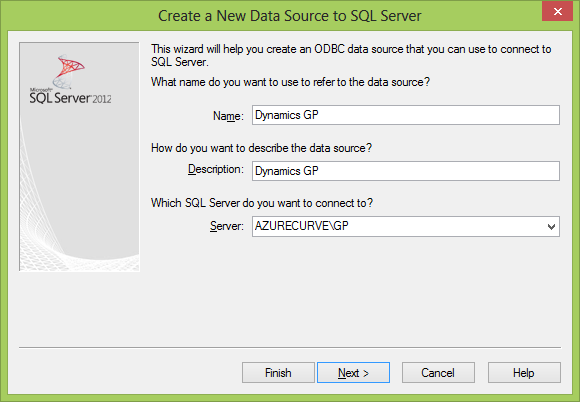 How To Create An ODBC For Microsoft Dynamics GP 2010