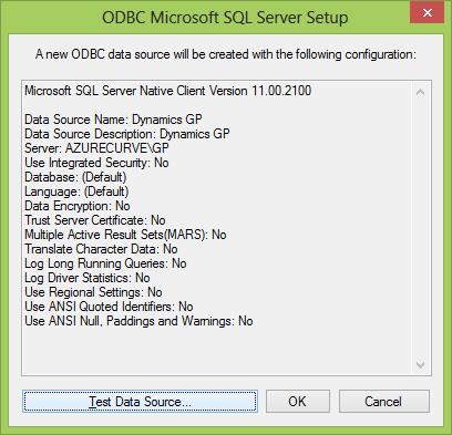 ODBC MIcrosoft SQL Server Setup