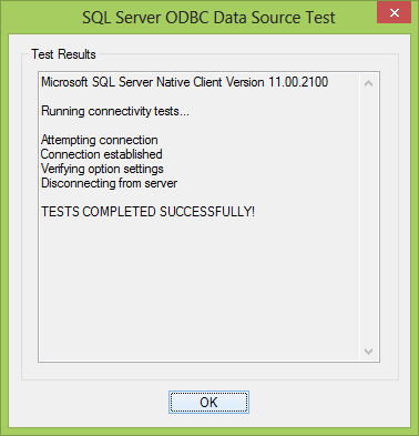 SQL Server ODBC Data Source Test