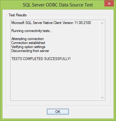 SQL Server ODBC Data Source Test