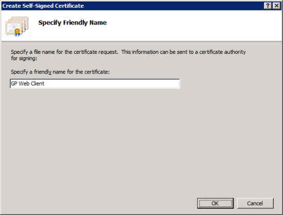 Create Self-Signed Certificate - Specify Friendly Name