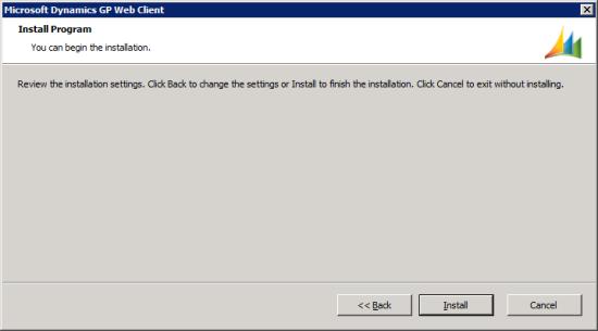Microsoft Dynamics GP Web Client setup utility - Install Program