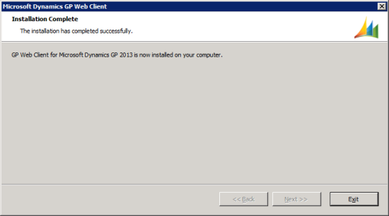 Microsoft Dynamics GP Web Client setup utility - Installation Complete