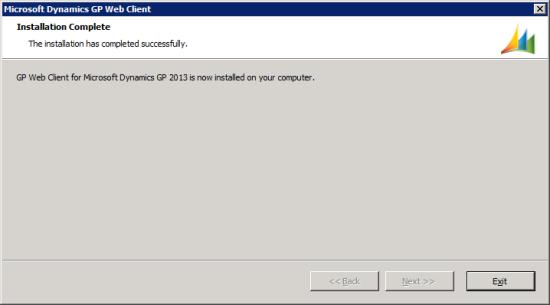 Microsoft Dynamics GP Web Client setup utility - Installation Complete