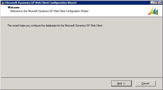 Microsoft Dynamics GP Web Client Configuration Wizard
