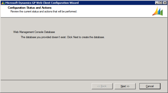 Microsoft Dynamics GP Web Client Configuration Wizard - Configuration Status and Actions