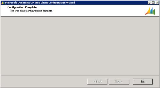 Microsoft Dynamics GP Web Client Configuration Wizard - Configuration Complete