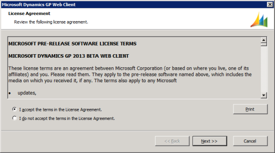 Microsoft Dynamics GP Web Client setup utility - License Agreement