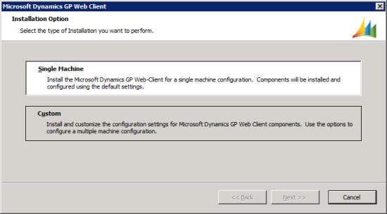Microsoft Dynamics GP Web Client setup utility - Installation Option