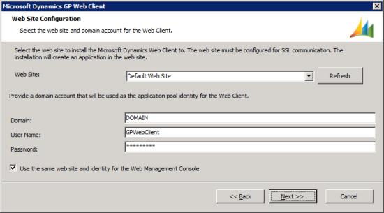 Microsoft Dynamics GP Web Client setup utility - Web Site Configuration