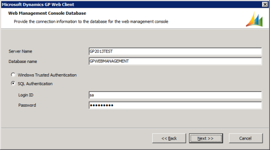 Microsoft Dynamics GP Web Client setup utility - Web Management Console Database