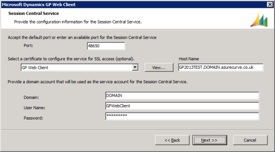Microsoft Dynamics GP Web Client setup utility - Session Central Service