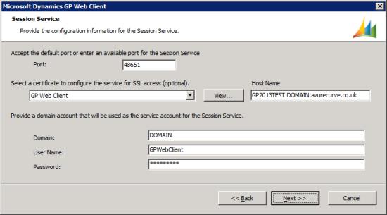 Microsoft Dynamics GP Web Client setup utility - Session Service