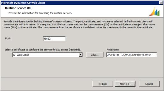 Microsoft Dynamics GP Web Client setup utility - Runtime Service URL