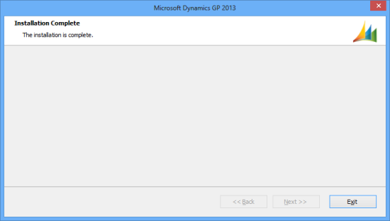 Microsoft Dynamics GP 2013 - Installation Complete