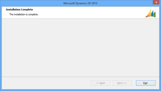 Microsoft Dynamics GP 2013 - Installation Complete