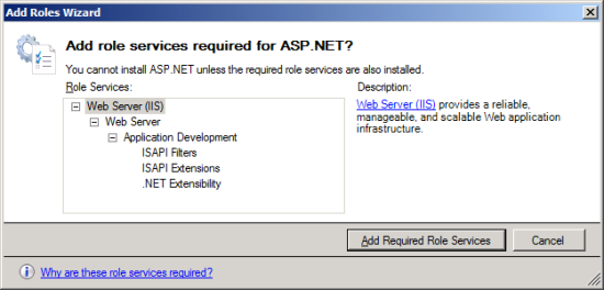 Add Roles Wizard - Add role services required for ASP.NET?