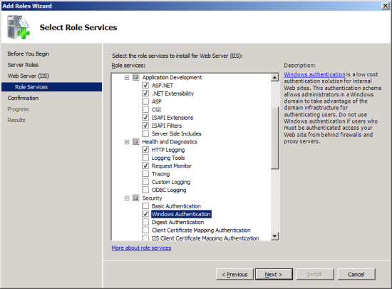 Add Roles Wizard - Select Role Services