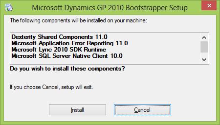 Microsoft Dynamics GP 2010 Bootstrapper Setup
