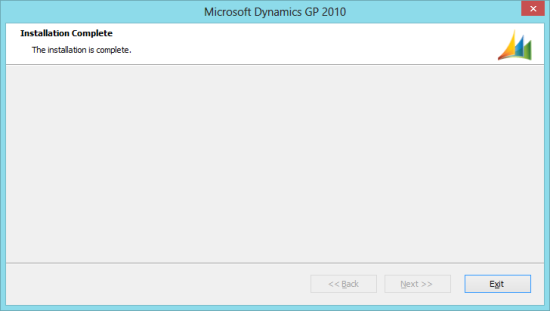 Microsoft Dynamics GP 2010 - Installation Complete
