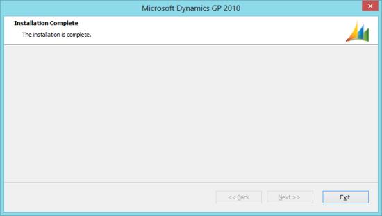 Microsoft Dynamics GP 2010 - Installation Complete