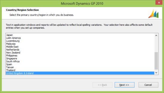 Microsoft Dynamics GP 2010 - Country/Region Selection