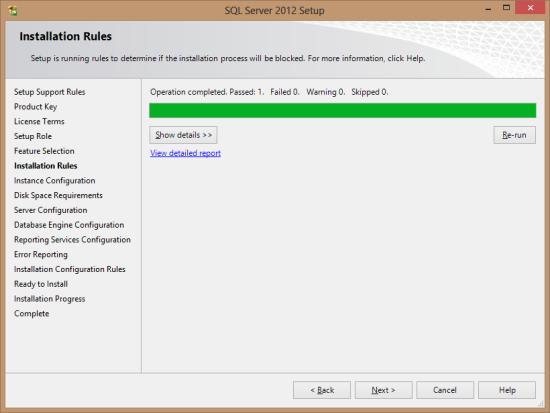 SQL Server 2012 Setup - Installation Rules