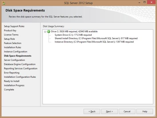 SQL Server 2012 Setup - Disk Space Requirements