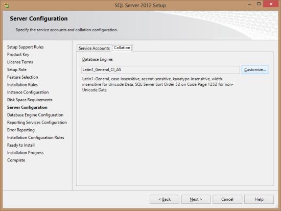 SQL Server 2012 Setu - Server Configuration - Collation