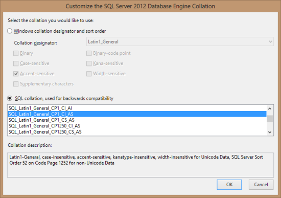 Customize the SQL Server 201 Database Engine Collation