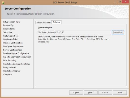 SQL Server 2012 Setup - Server Configuration - Collation