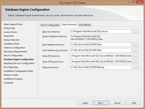 SQL Server 2012 Setup - Database Engine Configuration - Data Directories