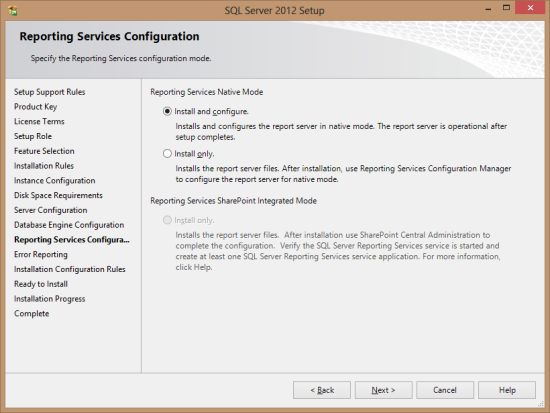 SQL Server 2012 Setup - Reporting Services Configuration