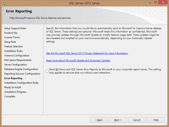 SQL Server 2012 Setup - Error Reporting