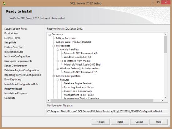 SQL Server 2012 Setup - Ready to Install
