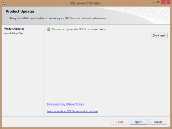 SQL Server 2012 Setup - Product Updates