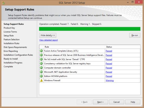 SQL Server 2012 Setup - Setup Support Rules