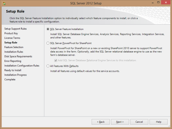 SQL Server 2012 Setup - Setup Role