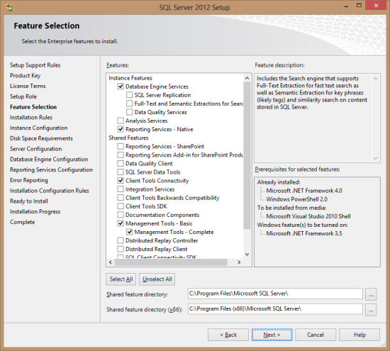 SQL Server 2012 Setup - Feature Selection