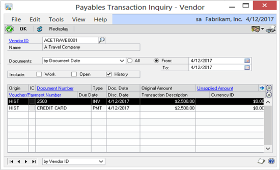 Payables Transaction Inquiry - Vendor