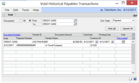 Void Historical Payables Transactions