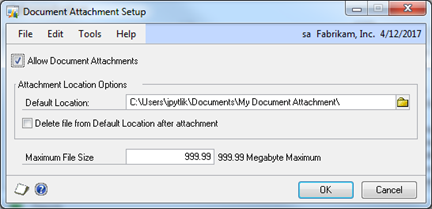 Document Attachment Setup