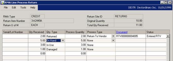 RMA Line Process Return