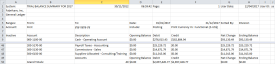 Trial Balance Summary - Tab Delimited Output