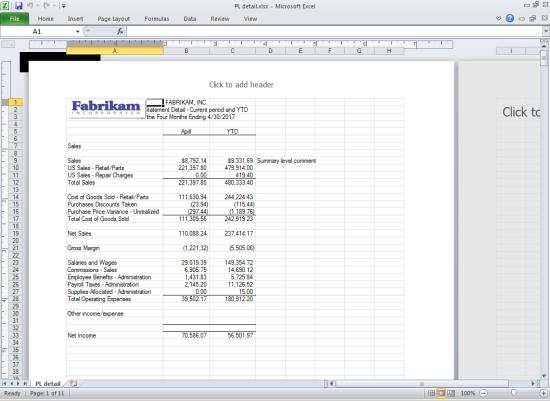 Management Reporter report in Excel