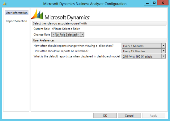 Microsoft Dynamics Business Analyzer Configuration