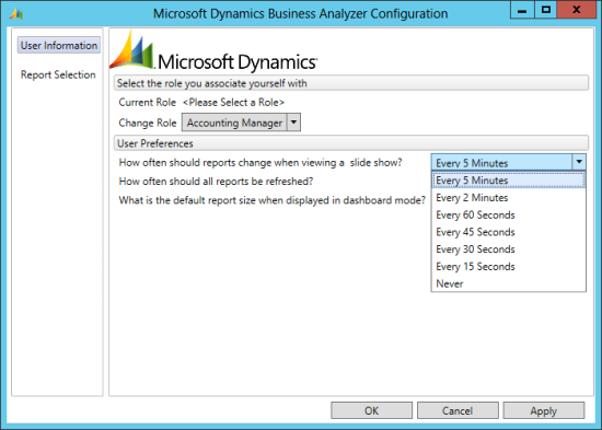 Microsoft Dynamics Business Analyzer Configuration - slide show interval