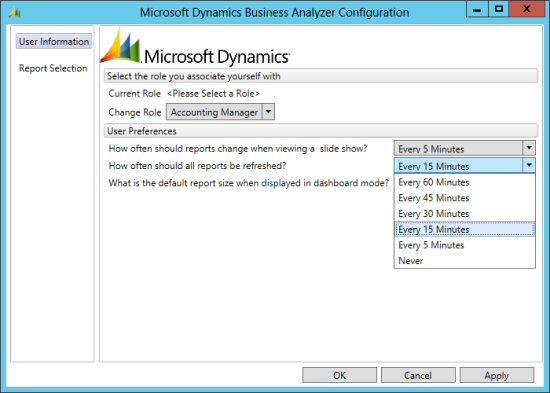 Microsoft Dynamics Business Analyzer Configuration - refresh interval