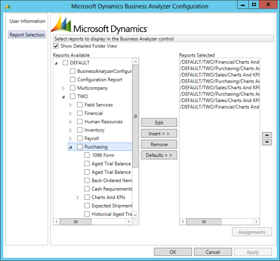 Microsoft Dynamics Business Analyzer Configuration - Report Selection
