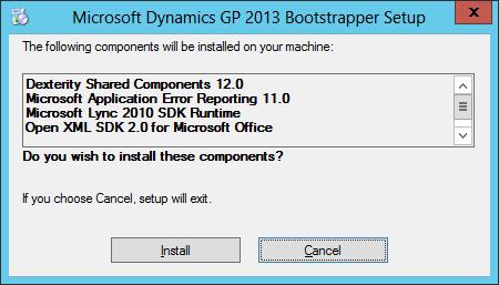 Microsoft Dnyamics GP 2013 Bootstrapper Setup